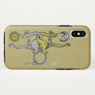 Coque iPhone X Dragons d'alchimie d'or et d'argent