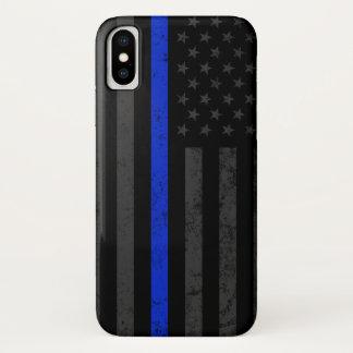 Coque iPhone X Drapeau américain affligé par obscurité de style