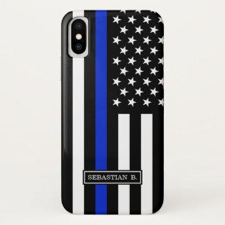 Coque iPhone X Drapeau américain mince de Blue Line