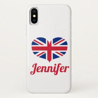 Coque iPhone X Drapeau BRITANNIQUE en forme de coeur/Union Jack
