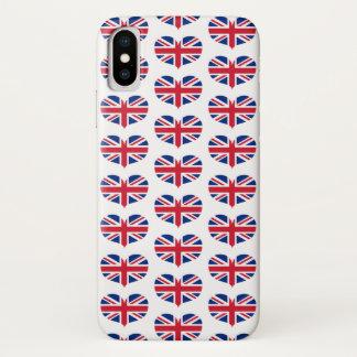 Coque iPhone X Drapeau en forme de coeur/Union Jack du