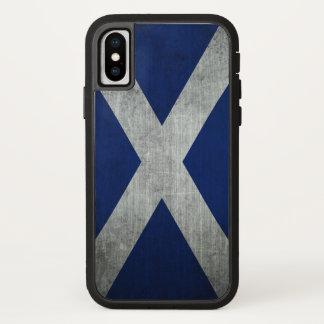 Coque iPhone X Drapeau grunge foncé de l'Ecosse