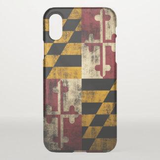 Coque iPhone X Drapeau grunge vintage du Maryland
