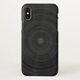 Coque iPhone X Éclat en acier de cercle noir mat
