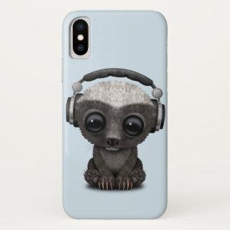 Coque iPhone X Écouteurs de port mignons du DJ de blaireau de