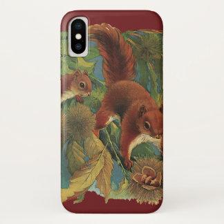 Coque iPhone X Écureuils vintages, créatures de forêt, animaux