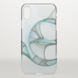 Coque iPhone X Élégance bleue d'abrégé sur gris de turquoise