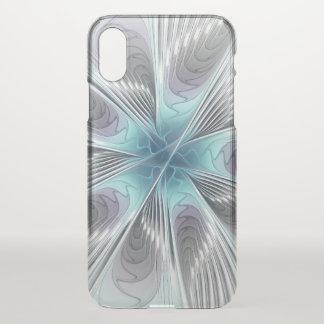 Coque iPhone X Élégance, fleur bleue moderne de fractale de blanc