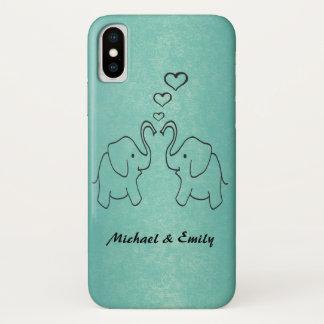 Coque iPhone X Éléphants mignons adorables dans l'amour