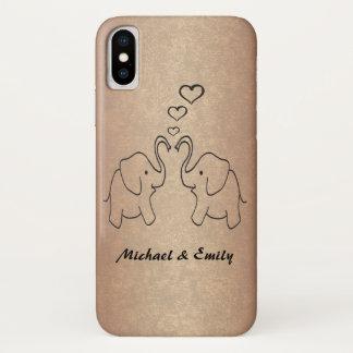 Coque iPhone X Éléphants mignons adorables dans le rosegold
