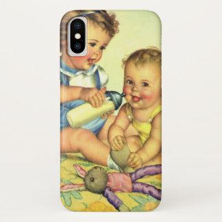 Coque iPhone X Enfants vintages, bouteille heureuse mignonne de