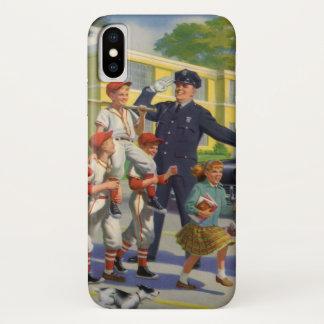Coque iPhone X Enfants vintages, garde de croisement de joueurs