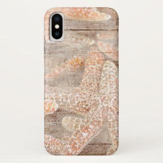 Coque iPhone X Étoiles de mer rustiques Brown