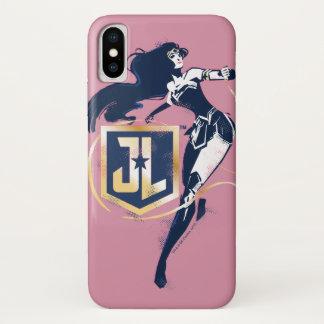 Coque iPhone X Femme de merveille de la ligue de justice   et art