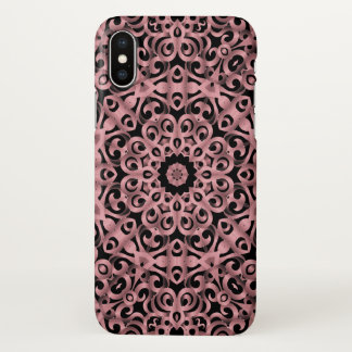 Coque iPhone X fer travaillé floral G93 de cas de l'iPhone X