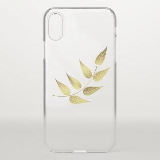 Coque iPhone X feuille dorée