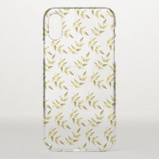 Coque iPhone X feuilles dorées