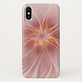 Coque iPhone X Fleur moderne d'abrégé sur floral rose mol rêve