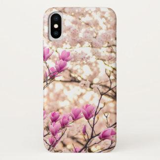 Coque iPhone X Fleur pourpre rose de floraison de ressort de