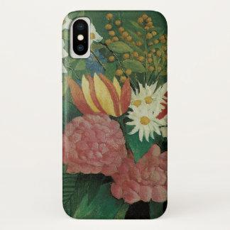 Coque iPhone X Fleurs avec le lierre par Henri Rousseau, cru