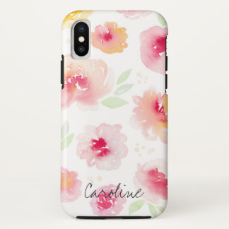 Coque iPhone X Fleurs d'aquarelle. Ajoutez le nom