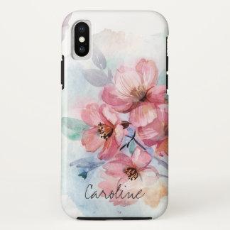 Coque iPhone X Fleurs de ressort d'aquarelle. Ajoutez le nom