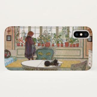 Coque iPhone X Fleurs sur le rebord de fenêtre par Carl Larsson