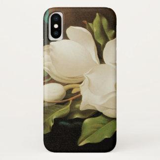 Coque iPhone X Fleurs vintages, magnolias géantes par Martin