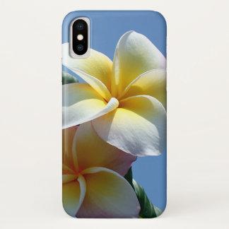 Coque iPhone X Fleurs voyantes de Frangipani de Plumeria