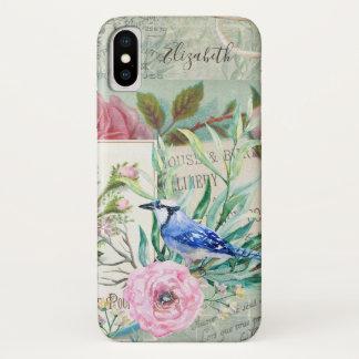 Coque iPhone X Floral rose d'oiseau élégant de geai bleu et nommé
