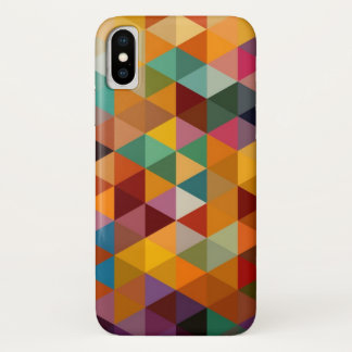 Coque iPhone X Fond vintage de motif de triangles