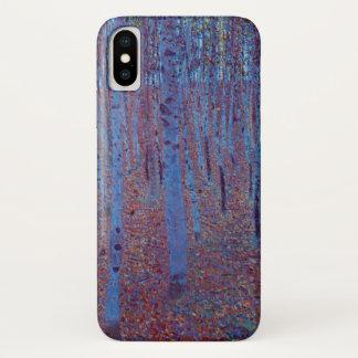 Coque iPhone X Forêt de hêtre par Gustav Klimt, art vintage