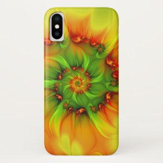 Coque iPhone X Fractale colorée d'été de vert d'abrégé sur chaud