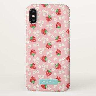 Coque iPhone X Fraises et fleur roses - nom