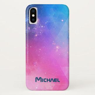 Coque iPhone X Galaxie géométrique abstraite customisée de ciel