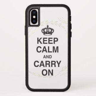 Coque iPhone X GARDEZ LE CALME ET CONTINUEZ et des BAISERS