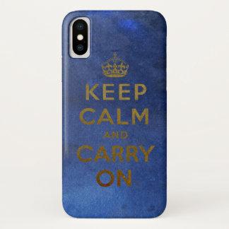 Coque iPhone X Gardez le calme et continuez la conception vintage