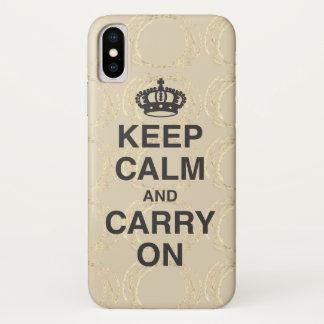 Coque iPhone X GARDEZ LE CALME ET CONTINUEZ le beige
