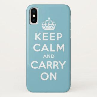 Coque iPhone X gardez le calme et continuez le bleu