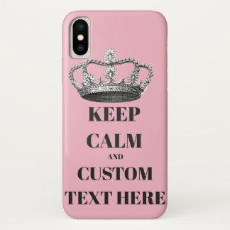 Coque iPhone X Gardez le calme et continuez le texte personnalisé
