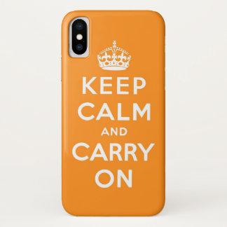 Coque iPhone X gardez le calme et continuez l'orange