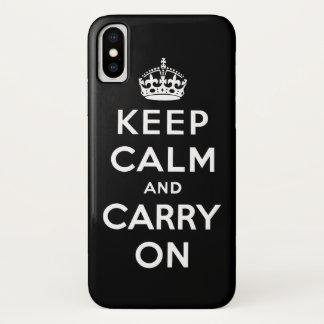Coque iPhone X gardez le calme et continuez l'original