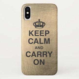 Coque iPhone X GARDEZ le CALME ET CONTINUEZ/métallique