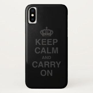 Coque iPhone X GARDEZ LE CALME ET CONTINUEZ/noir