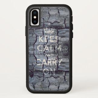 Coque iPhone X gardez le calme et continuez sale en bois