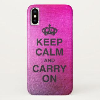 Coque iPhone X GARDEZ LE CALME ET CONTINUEZ/vibrant métallique