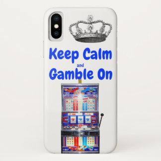Coque iPhone X Gardez le calme et le jeu sur Las Vegas