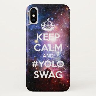 Coque iPhone X Gardez le calme et le #yoloswag