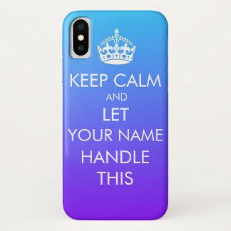 Coque iPhone X Gardez le cas fait sur commande calme d'Iphone X