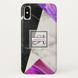 Coque iPhone X Géométrique pourpre rose noir de marbre de
